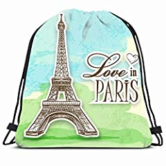 Ahawoso Drawstring Backpack String Bag 14X18 Watercolor Woman Oil Painting On Canvas Street View Paris Colorful French France Umbrella Famous Modern Love Sport Gym Sackpack Hiking Yoga Travel Beach GOOD SIZE TO TAKE ESSENTIAL: Product Dimensi...