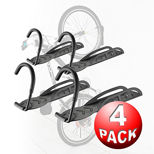 Bike Lane Products Bicycle Wall Hanger 4 Pack Bike Storage System For Garage or Shed Vertical Bicycle Storage by RAD Cycle Products