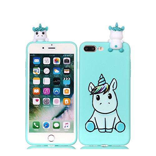 DAMONDY iPhone 7 Plus Case, iPhone 8 Plus Case, 3D Cartoon Animals Cute Pattern Soft Gel Silicone Slim Design Rubber Thin Protective Cover Phone Case for iPhone 7 Plus/iPhone 8 Plus-Cute Unicorn