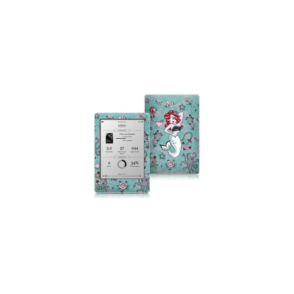 Molly Mermaid Design Protective Decal Skin Sticker for Kobo eReader 6 inch Touch Edition Tablet Computers & Accessories
