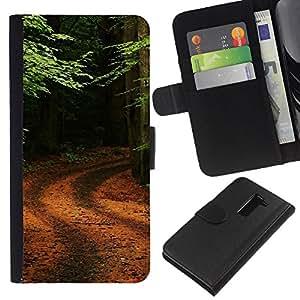 All Phone Most Case / Oferta Especial Cáscara Funda de cuero Monedero Cubierta de proteccion Caso / Wallet Case for LG G2 D800 // Nature Forrest Trail