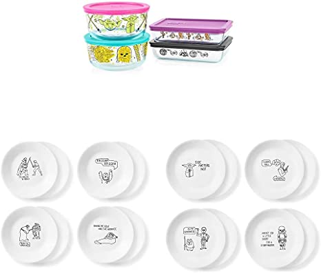 Amazon Com Pyrex Disney Star Wars Decorated 8 Pc Food Storage Set Plus Corelle 8 Piece Lunch And 8 Piece App Plates Home Kitchen