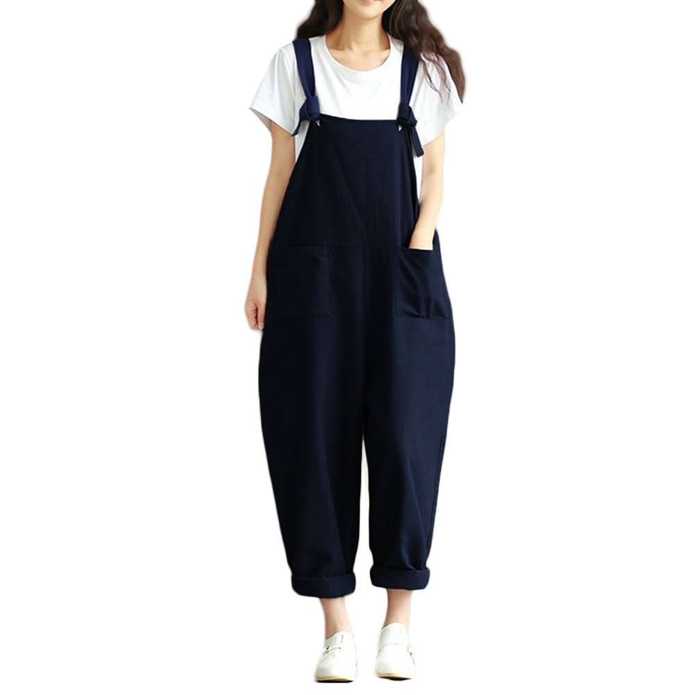 Romacci Women Loose Baggy Dungarees Casual Cotton Linen Jumpsuit Playsuit Solid Color Baggy Rompers Overalls, S- 5XL