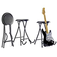 Foldable Stool with Built-In Guitar Stand