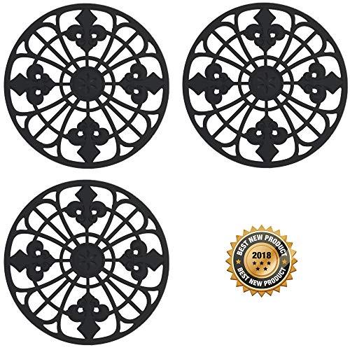 Silicone Trivet Set For Hot Dishes   Modern Kitchen Hot Pads For Pots & Pans   Fleur De Lis Design (Symbol of Royalty) Mimics Cast Iron Trivets (7.5