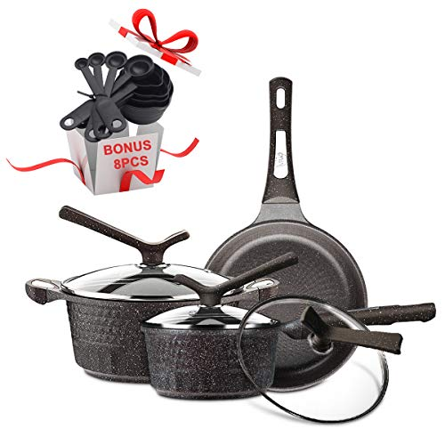 KI Upmarket Non-Stick Cookware Set | Nonstick Soup Pots and Frying Pans Set | Cooking Utensils and Measuring Cups and Spoons for Free, Gift Choice, 1 Year Warranty