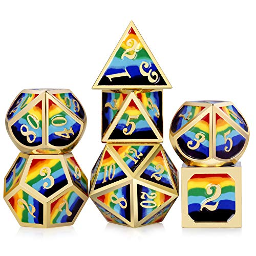 Rainbow DND Metal Dice Set,DNDND Heavy 7 PCS Zinc Alloy Polyhedral Die with Free Metal Tin for Dungeons and Dragons D&D Roleplaying Table Games (Gold Number with Rainbow Colors) (Best Dungeons And Dragons Pc Game)