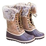 Nulibenna Women Lace up Fur Duck Waterproof Snow Boots Mid Calf Winter Rain Shoes