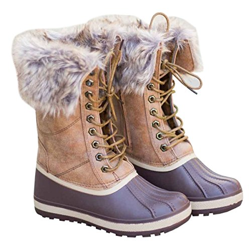 Womens Duck Boot Winter Fur Lace Up Mid Calf Rain Waterproof Snow Boots Furry Lace Up Boot