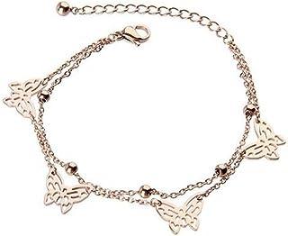 Scoprire donna 14 K oro rosa placcato Titan acciaio doppio-farfalla Braccialetto/cavigliera, per le donne, ragazza, (f1090)