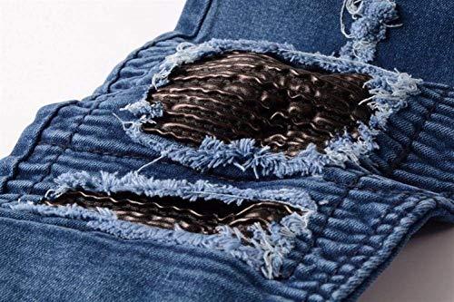 Streetwear Skinny Giovane Con Chern Uomo Blau Aderenti Hiphop Distrutti In Snap Jeans Denim Pantaloni Fori Slim Moto Patchwork Da TycUqWZp