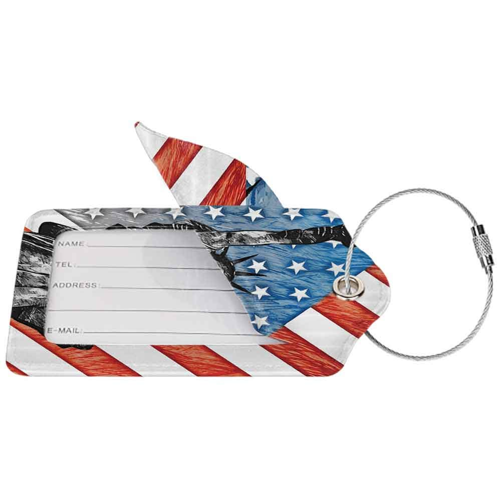 Soft luggage tag American Flag Decor Sketchy Statue Cultural Icon States Freedom History Country Love Artwork Bendable Multi W2.7 x L4.6