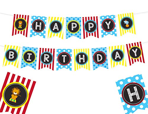 CARNIVAL THEMED HAPPY BIRTHDAY BANNER - Carnival Decorations For Party Circus Birthday Party Supplies Carnival Theme Decorations Circus Party Decorations Carnival Theme Party Décor Festival Happy Birthday Banner Elephant Happy Birthday Banner - 8 x 5.5 Inches