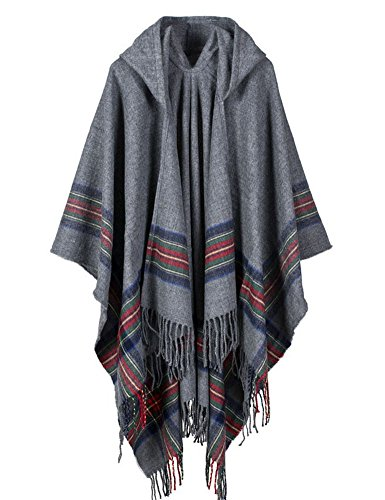 AooToo Women's Hooded Winter Cashmere Cloak Shawl Cardigans Sweater(Grey, Onesize)