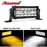 white and amber driving light - LED Light Pods, Autofeel 7 inch 72W Driving Lights Emergency Lights Fog Light Snow Lights Flashing Amber Light Spot Flood Off Road Lights for Pickup Truck Jeep ATV UTV Wrangler SUV Dodge Ram 4x4 Ford