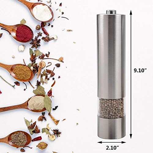 2 Pack Salt and Pepper Grinder with Adjustable Ceramic Rotor Pepper Mill Made of Brushed Stainless Steel Suit Spice Mill Salt and Pepper Shakers 6oz Tall Body by WANGBO (Image #2)