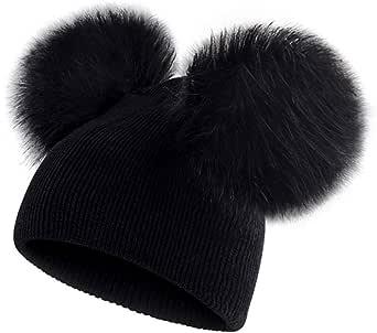 ECYC Niños Sombrero Niño Niños Bebé Bebé Cálido Sombrero de Lana de Invierno Gorro de Punto Beanie Fur Pom Pom Sombrero para bebés de 6 Meses a 3 años