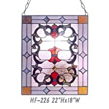 HF-226 Vintage Tiffany Style Handmade Stained Glass Church Art Window Hanging Glass Panel Suncatcher, 22''x18''