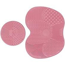 Makeup Brush Cleaning Mat, ESARORA Makeup Brush Cleaner Pad Set of 2 Cosmetic Brush Cleaning Mat Portable Washing Tool Scrubber Suction Cup (Light Pink)