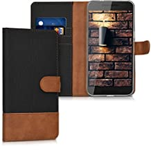 kwmobile Wallet case canvas cover for Huawei Google Nexus 6P - Flip case with card slot and stand in black brown