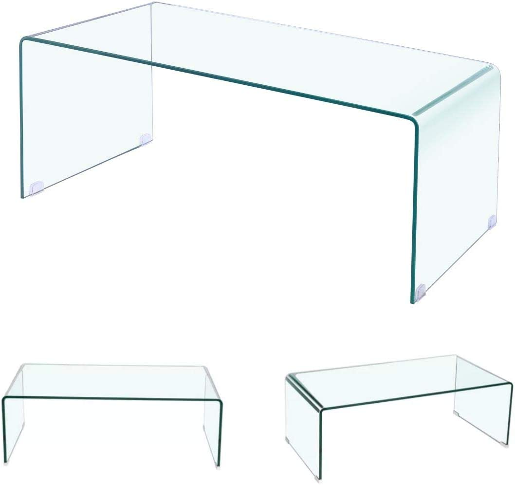 Clear Tempered Glass Coffee Table Glass Coffee Table Console Stylish Coffee Table Waterfall/Coffee Table Large Rectangular Coffee Table