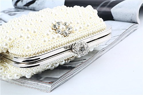 White Cerimonia Sera Bag Eleganti Donne Nozze Spalla Elegante Sacchetto Slay Perle Per Catena Da Borsa Partito Perline Cerimonia Pochette Festa H Creamywhite wxRXAv5