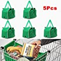 Mandycng Clip on Cart 5pcs Foldable Shopping Reusable Eco Grocery Trolley Supermarket Bag