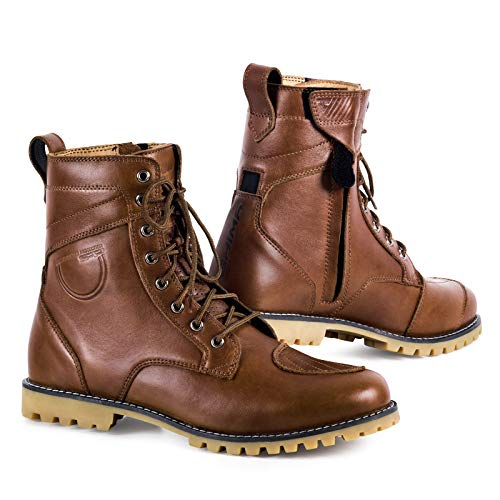 - SHIMA Thomson, Men's Vintage Leather Street Motorcycle Boots - Brown (45, Brown)