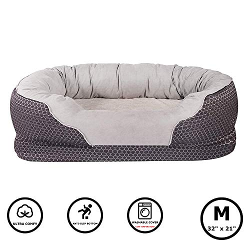 Pet Deluxe Dog and Puppy Bed, Grooved Orthopedic Foam Beds with Removable Washable Cover, Ultra Comfort, Padded Rim…