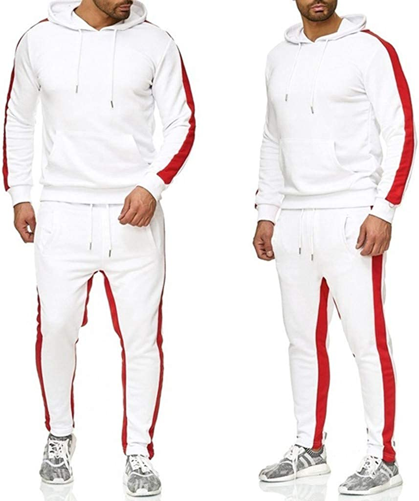 AOGOTO Mens Tracksuit Plus Size Long Sleeve Athletic Sports Outfit Casual Sweatsuit Pants