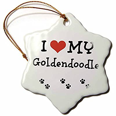 3dRose-ORN1836581-I-Love-My-Goldendoodle-Snowflake-Ornament-Porcelain-3-Inch