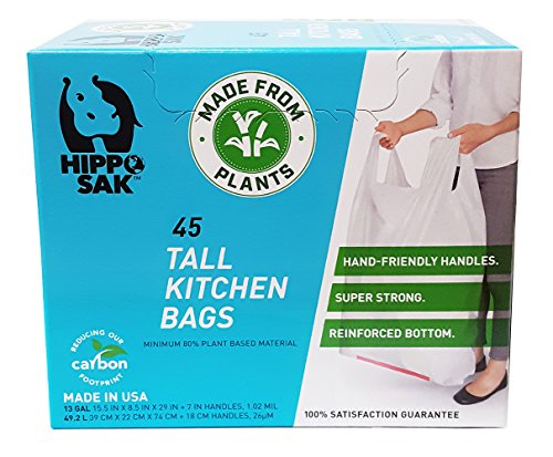 Plant Based - Hippo Sak Tall Kitchen Bags with Handles, 13 gallon (45 Count) (Biodegradable Kitchen Trash Bags)