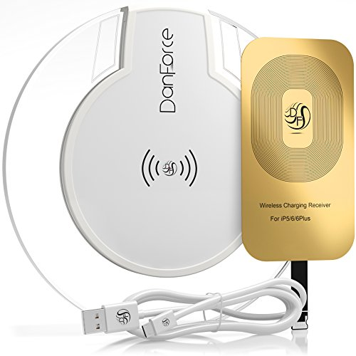 Wireless Charger Kit, DanForce Qi Wireless Charging Kit includes Qi Charger and 1A iPhone Qi Receiver (Lightning Port) for Apple iPhone 7/7 Plus, iPhone 6s Plus, iPhone 6s, iPhone 6 plus, iPhone 6