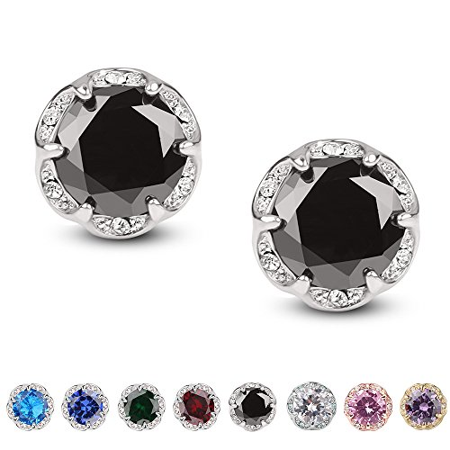 Jardme Crown Shape Crystal Round earring stud White Cubic Zircon Earring Stud(4Ct) (Black)