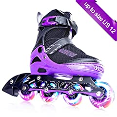 Adjustable Sizes By pressing size button, you can easily adjust the size. Our inline skates are available in four sizes, each size with a button to adjust the length.  Before  placing an order, please check size chart carefully.  Supportive L...