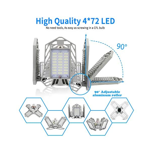 LED Garage Lights, New Upgrade 150W Deformable Four Leaf Ceiling Light, 15000LM Ultra-Bright Trilight Lighting with 4… 4