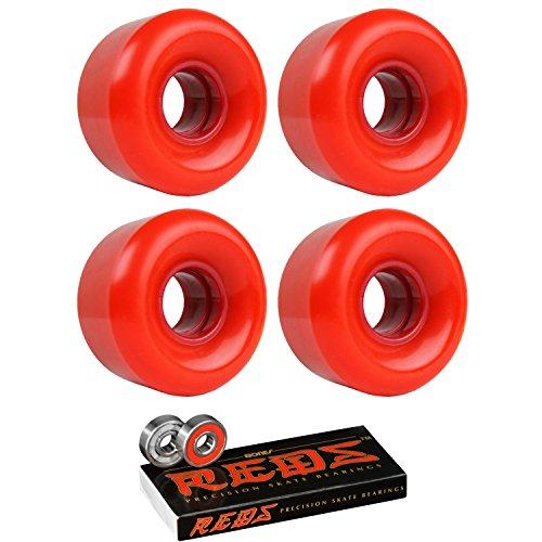TGM Skateboards Skateboard Cruiser Wheels 58mm x 36mm 83A 200C Red Bones Reds Bearings