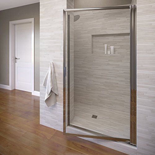 Silver Pivot Shower Door - Basco Sopora 34.25- 36 in. Width, Pivot Shower Door, AquaGlideXP Clear Glass, Silver Finish