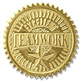 Excellent Teamwork Embossed Gold Foil Certificate Seals, 2 Inch, Self Adhesive, 102 Count
