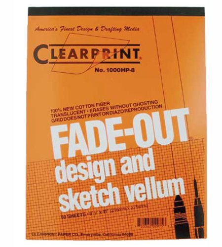Printed Vellum - Clearprint 1000H Design Vellum Pad with Printed Fade-Out 8x8 Grid, 16 lb., 100% Cotton, 8-1/2 x 11 Inches, 50 Sheets, Translucent White (10002410)