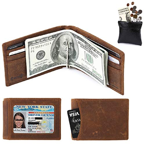 amelleon Men's RFID Blocking Leather Wallet - Front Pocket Wallet With Money Clip(Texas Brown) ()
