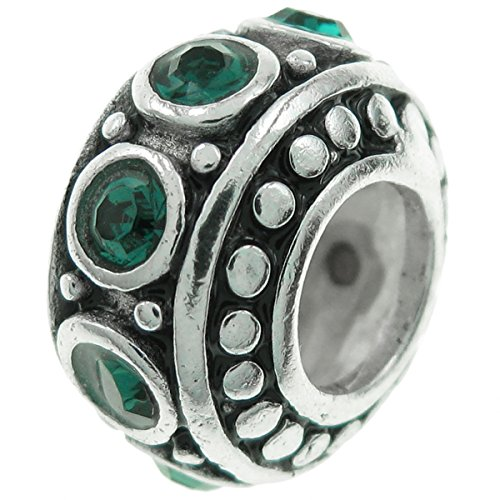Dreambell 925 Sterling Silver Round Birthday May Green Cz Crystal Bead For European Charm Bracelets