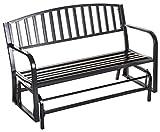 "Merax 50"" Outdoor Patio Swing Glider Bench chair Metal Garden loveseat, Black"