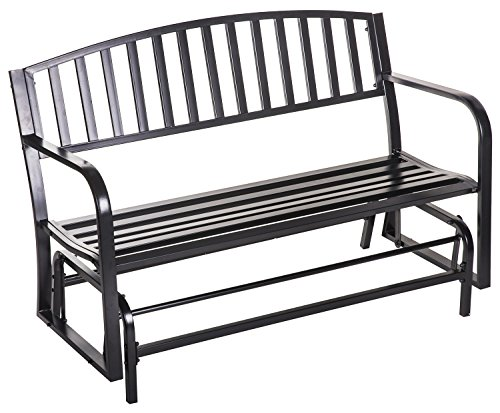 "Merax 50"" Outdoor Patio Swing Glider Bench chair Metal Garden loveseat, Black"