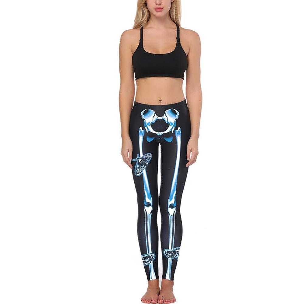 Leggins Mujer Pantalones Yoga Mujeres, Yusealia Cintura Alta Sólido Leggins Fitness Pantalones Halloween Impresión de Hueso Moda Empalmada Pantalones De ...