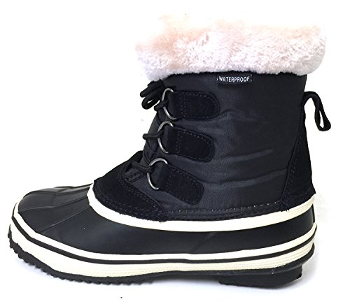 G4U-A G4-A22S Womens Winter Boots Cold Weather Insulated Lace up Waterproof Fur Warm Duck Snow Shoes, Black Black
