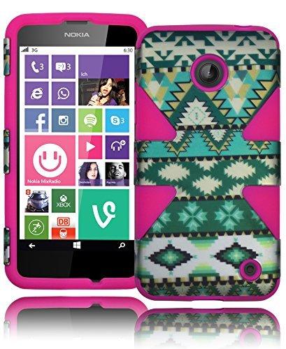 Bastex Heavy Duty Dynamic Hybrid Defender Case for Nokia Lumia 635 - Neon Purple Silicone Cover with Powder Blue Snowflake Print Design Hard Shell (Girly Nokia Lumia 635 Cases)