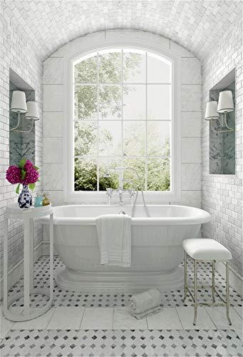 AOFOTO 5x7ft Bathroom Backrdops for Photoshoot Window Bathtub Shower Head Vintage Lamps Flowers Vase Brick Wall Photography Background Forest Outside Vinyl Photo Booth Prop 7' Vintage Head Vase