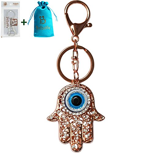 Bolbove Evil Eye Hamsa Hand Keychain Sparkling Keyring Crystal Rhinestones Purse Pendant Handbag -