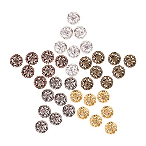 PH PandaHall 100pcs 5 Color 23mm Iron Round Filigree Beads Hollow Ball Metal Spacer Beads for DIY Necklace Charm Bracelet Jewelry Making ()